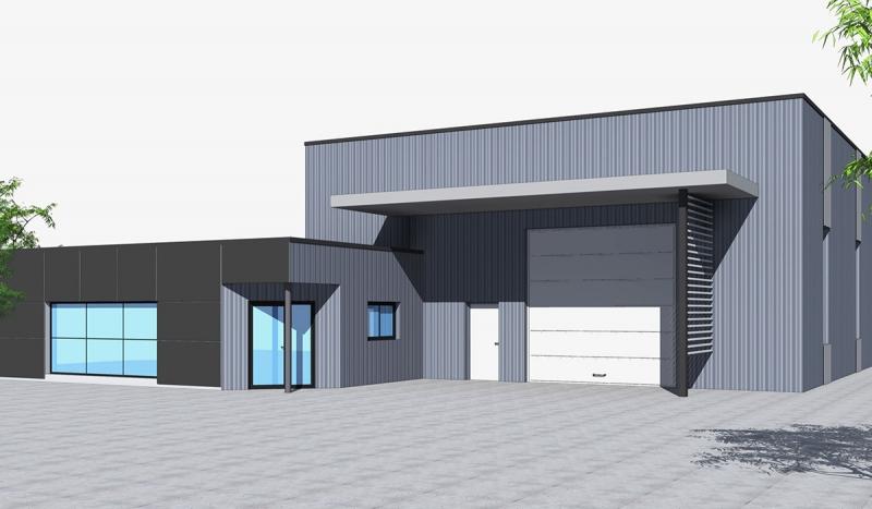 Vue réaliste 3D d'un bâtiment clos couvert