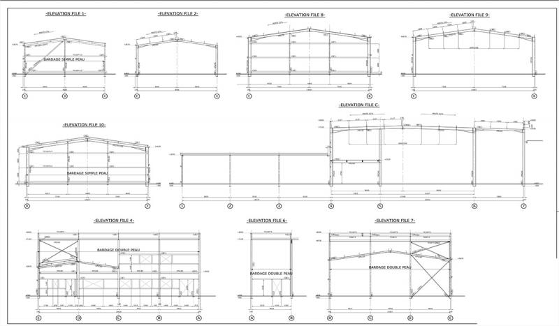 Plan d'élévation d'un bâtiment industriel