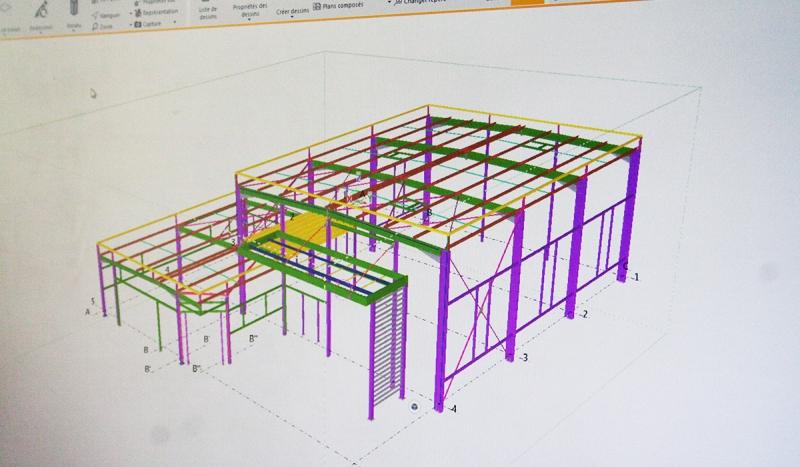 Vue 3D en CAO d'un bâtiment clos couvert