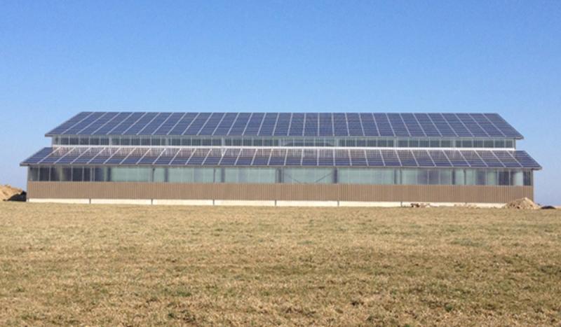 Couverture d'un bâtiment industriel en panneaux photovoltaïques