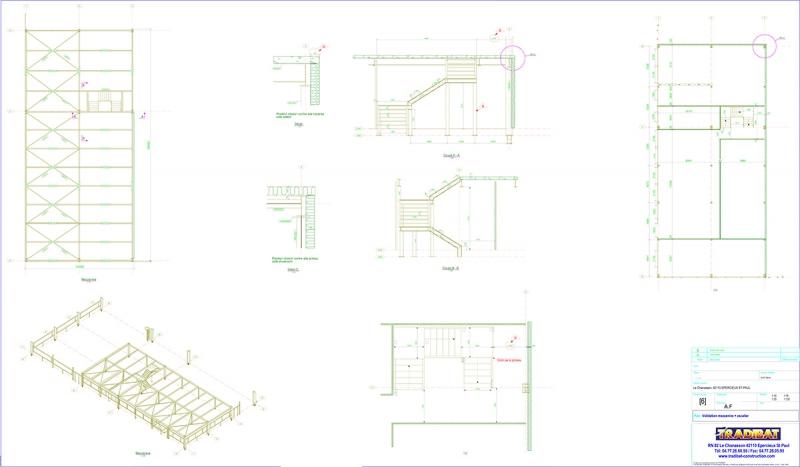 Plan de validation d'une mezzanine avec escalier